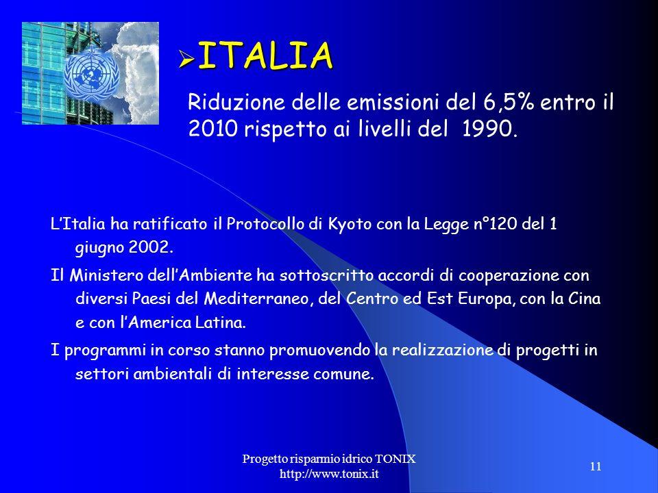Progetto risparmio idrico TONIX http://www.tonix.it 11 ITALIA ITALIA Riduzione delle emissioni del 6,5% entro il 2010 rispetto ai livelli del 1990. LI