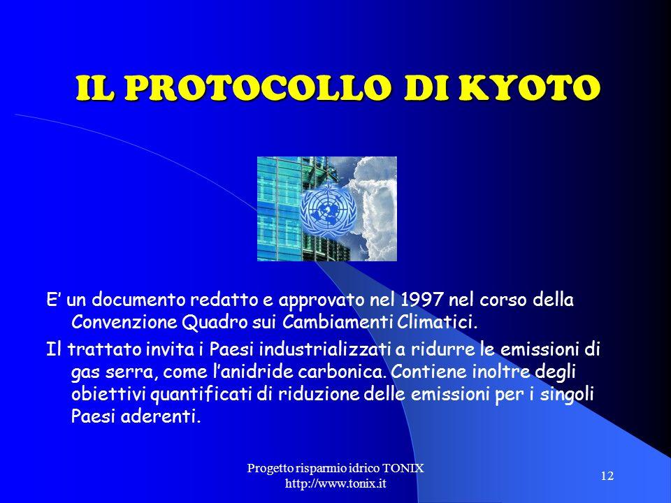 Progetto risparmio idrico TONIX http://www.tonix.it 12 IL PROTOCOLLO DI KYOTO E un documento redatto e approvato nel 1997 nel corso della Convenzione