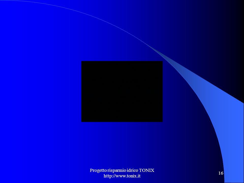 Progetto risparmio idrico TONIX http://www.tonix.it 16