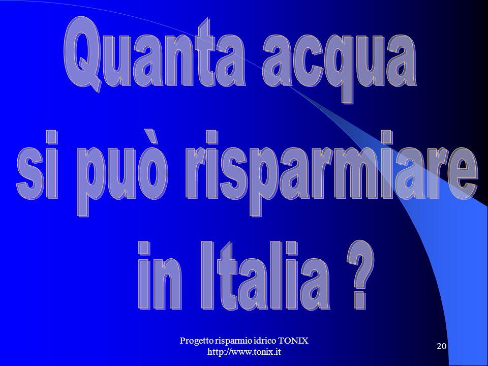 Progetto risparmio idrico TONIX http://www.tonix.it 20