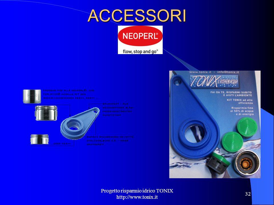 ACCESSORI Progetto risparmio idrico TONIX http://www.tonix.it 32