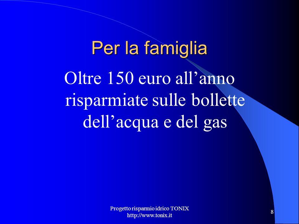 Progetto risparmio idrico TONIX http://www.tonix.it 8 Per la famiglia Oltre 150 euro allanno risparmiate sulle bollette dellacqua e del gas