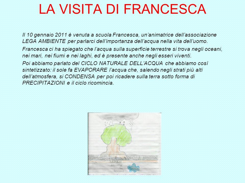 LA VISITA DI FRANCESCA Il 10 gennaio 2011 è venuta a scuola Francesca, unanimatrice dellassociazione LEGA AMBIENTE per parlarci dellimportanza dellacqua nella vita delluomo.