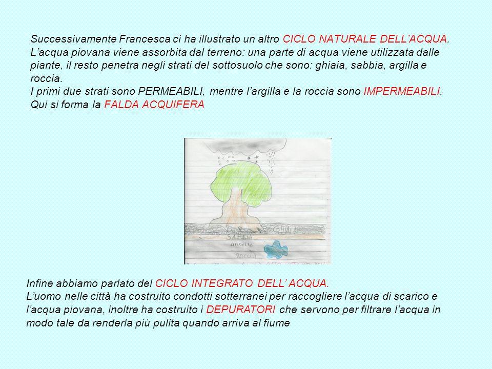 LA VISITA DI FRANCESCA Il 10 gennaio 2011 è venuta a scuola Francesca, unanimatrice dellassociazione LEGA AMBIENTE per parlarci dellimportanza dellacq