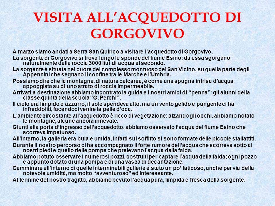VISITA ALLACQUEDOTTO DI GORGOVIVO A marzo siamo andati a Serra San Quirico a visitare lacquedotto di Gorgovivo.