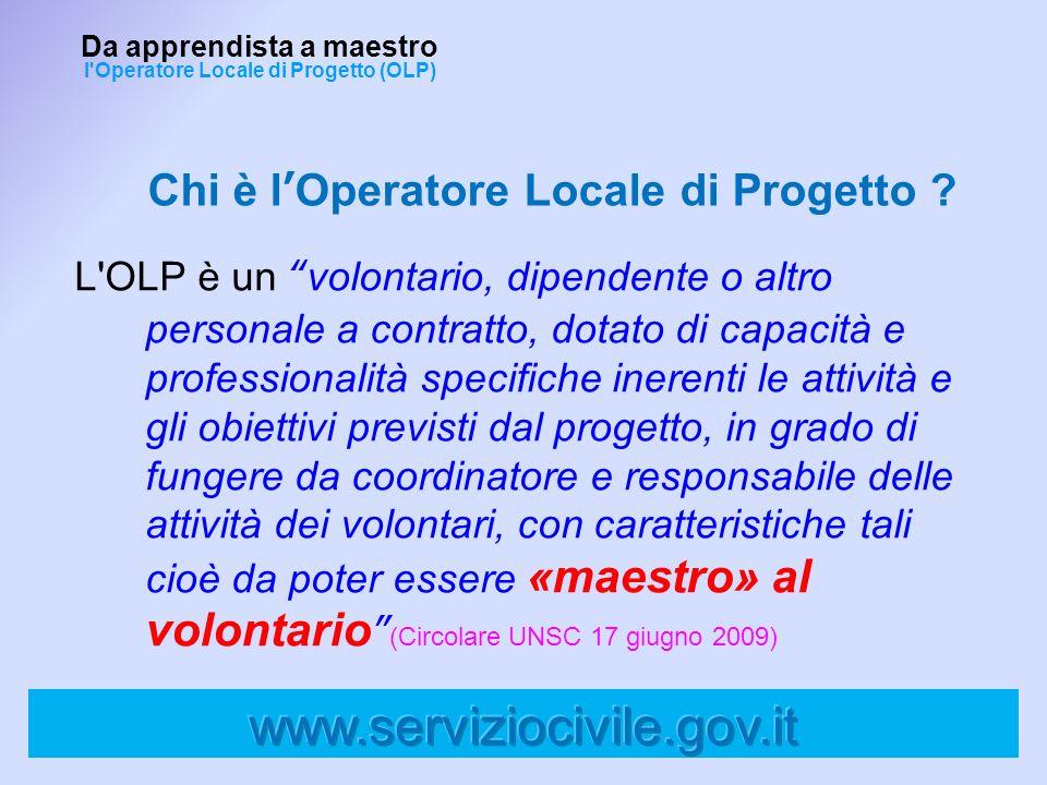 Chi è lOperatore Locale di Progetto ? L'OLP è un volontario, dipendente o altro personale a contratto, dotato di capacità e professionalità specifiche