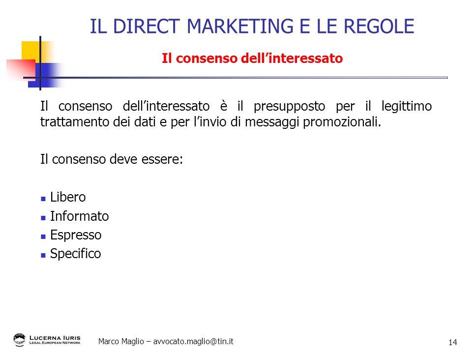 Marco Maglio – avvocato.maglio@tin.it 14 Il consenso dellinteressato è il presupposto per il legittimo trattamento dei dati e per linvio di messaggi p