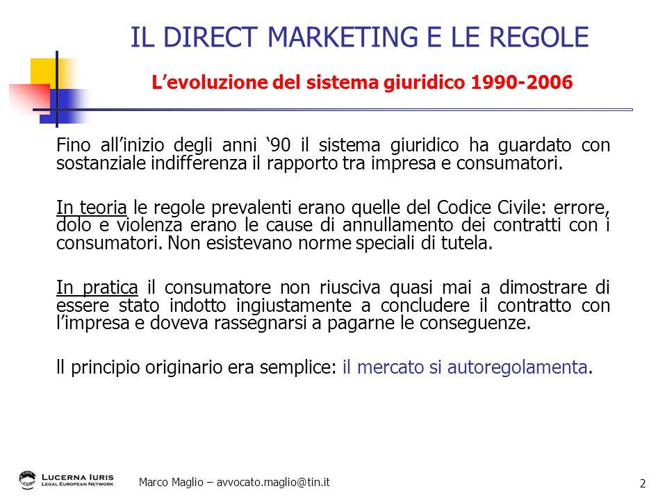 Marco Maglio – avvocato.maglio@tin.it 2 Fino allinizio degli anni 90 il sistema giuridico ha guardato con sostanziale indifferenza il rapporto tra imp