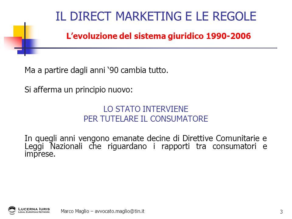 Marco Maglio – avvocato.maglio@tin.it 3 Ma a partire dagli anni 90 cambia tutto. Si afferma un principio nuovo: LO STATO INTERVIENE PER TUTELARE IL CO