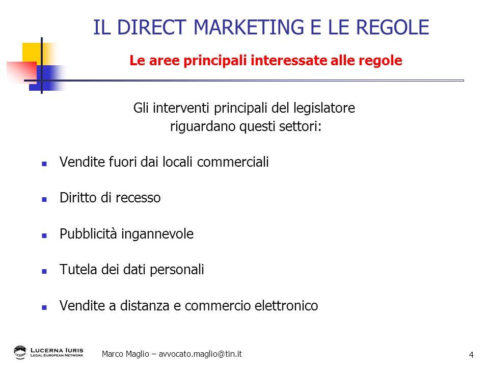 Marco Maglio – avvocato.maglio@tin.it 4 Gli interventi principali del legislatore riguardano questi settori: Vendite fuori dai locali commerciali Diri