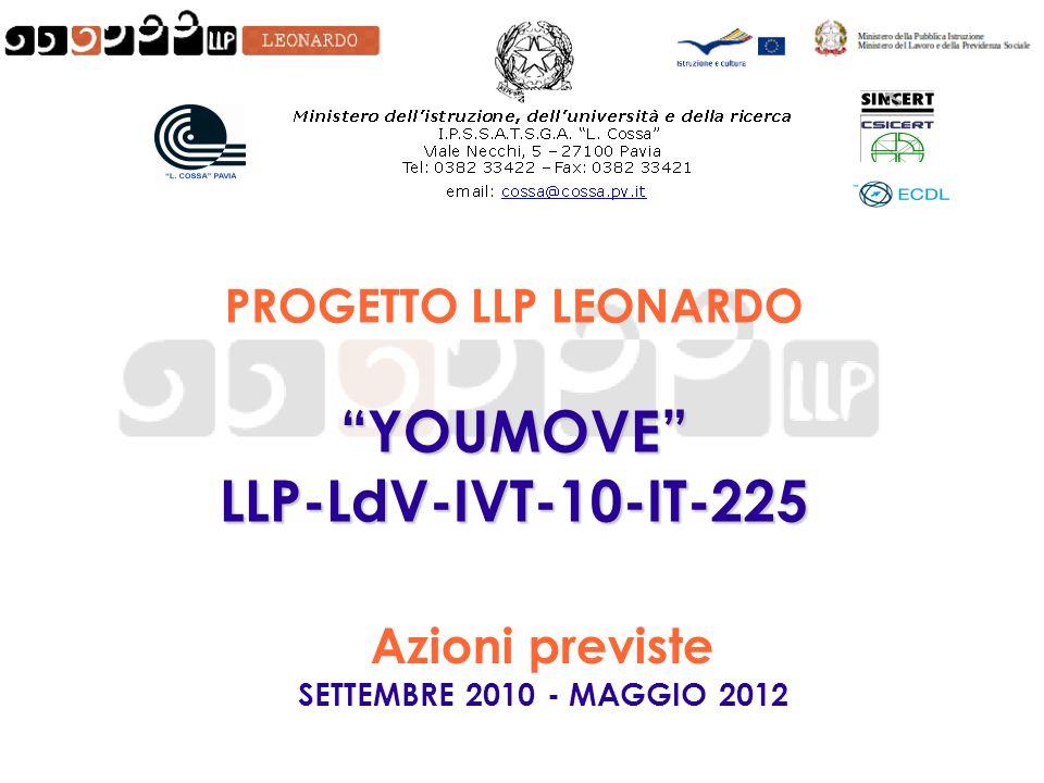 PROGETTO LLP LEONARDO YOUMOVELLP-LdV-IVT-10-IT-225 Azioni previste SETTEMBRE 2010 - MAGGIO 2012