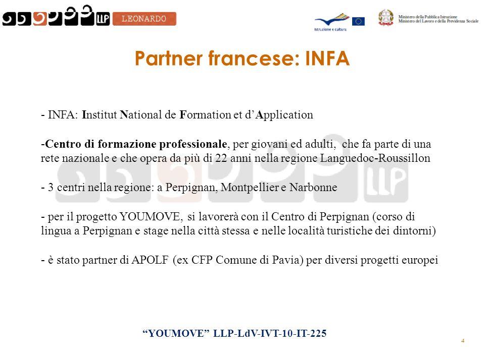 4 Partner francese: INFA - INFA: Institut National de Formation et dApplication -Centro di formazione professionale, per giovani ed adulti, che fa parte di una rete nazionale e che opera da più di 22 anni nella regione Languedoc-Roussillon - 3 centri nella regione: a Perpignan, Montpellier e Narbonne - per il progetto YOUMOVE, si lavorerà con il Centro di Perpignan (corso di lingua a Perpignan e stage nella città stessa e nelle località turistiche dei dintorni) - è stato partner di APOLF (ex CFP Comune di Pavia) per diversi progetti europei YOUMOVE LLP-LdV-IVT-10-IT-225