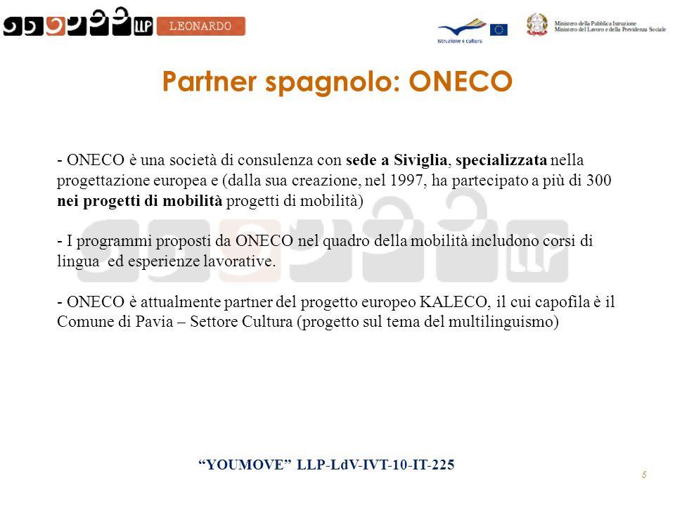 5 Partner spagnolo: ONECO - ONECO è una società di consulenza con sede a Siviglia, specializzata nella progettazione europea e (dalla sua creazione, nel 1997, ha partecipato a più di 300 nei progetti di mobilità progetti di mobilità) - I programmi proposti da ONECO nel quadro della mobilità includono corsi di lingua ed esperienze lavorative.