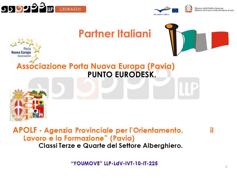 9 Partner Italiani APOLF - Agenzia Provinciale per lOrientamento, il Lavoro e la Formazione (Pavia) Classi Terze e Quarte del Settore Alberghiero.