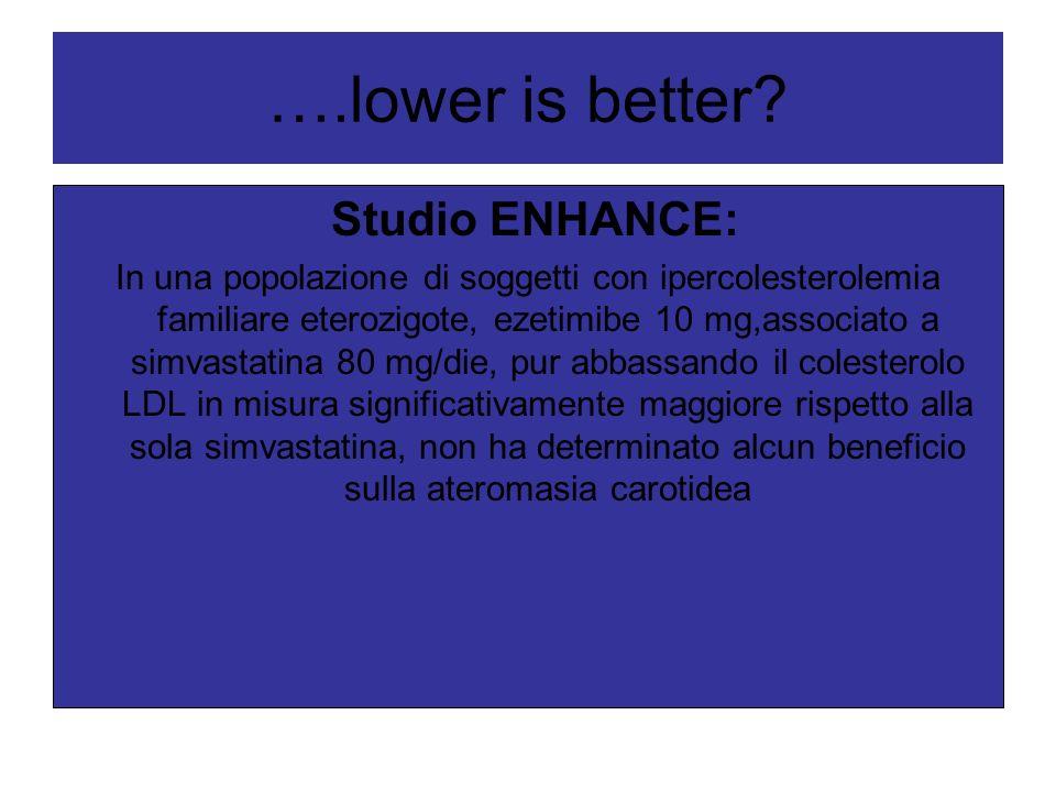 ….lower is better? Studio ENHANCE: In una popolazione di soggetti con ipercolesterolemia familiare eterozigote, ezetimibe 10 mg,associato a simvastati