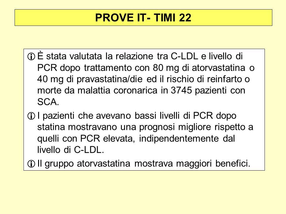 PROVE IT- TIMI 22 È stata valutata la relazione tra C-LDL e livello di PCR dopo trattamento con 80 mg di atorvastatina o 40 mg di pravastatina/die ed