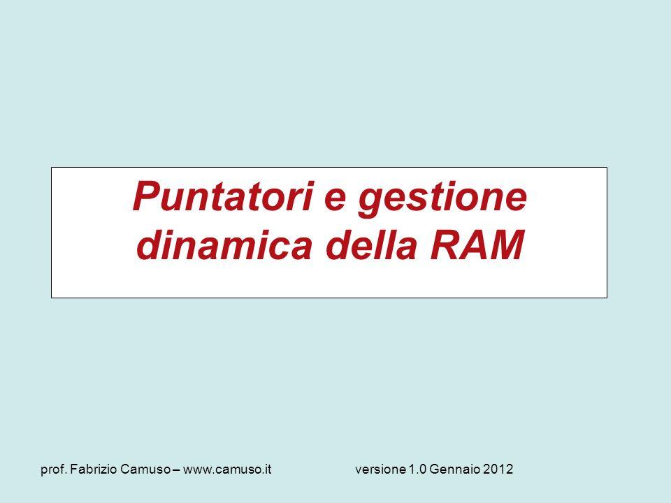 prof. Fabrizio Camuso – www.camuso.itversione 1.0 Gennaio 2012 Puntatori e gestione dinamica della RAM