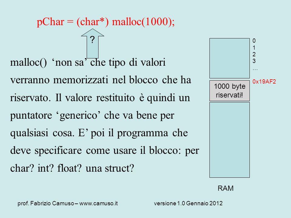 prof. Fabrizio Camuso – www.camuso.itversione 1.0 Gennaio 2012 pChar = (char*) malloc(1000); malloc() non sa che tipo di valori verranno memorizzati n