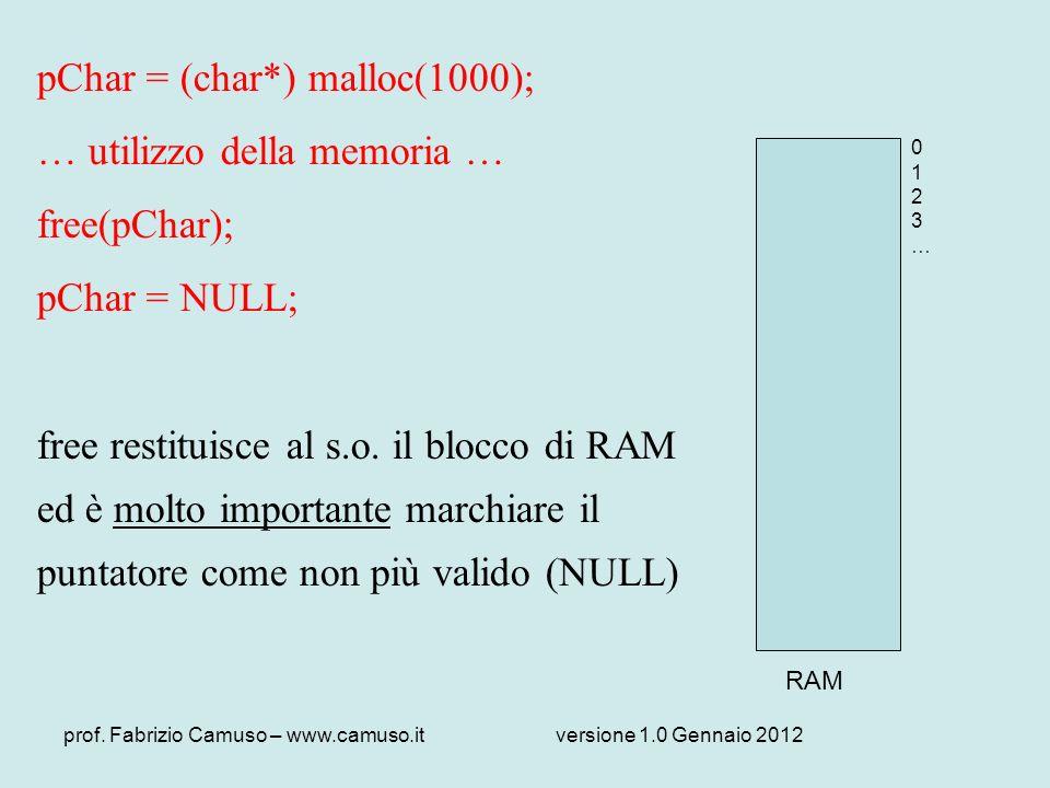 prof. Fabrizio Camuso – www.camuso.itversione 1.0 Gennaio 2012 pChar = (char*) malloc(1000); … utilizzo della memoria … free(pChar); pChar = NULL; fre