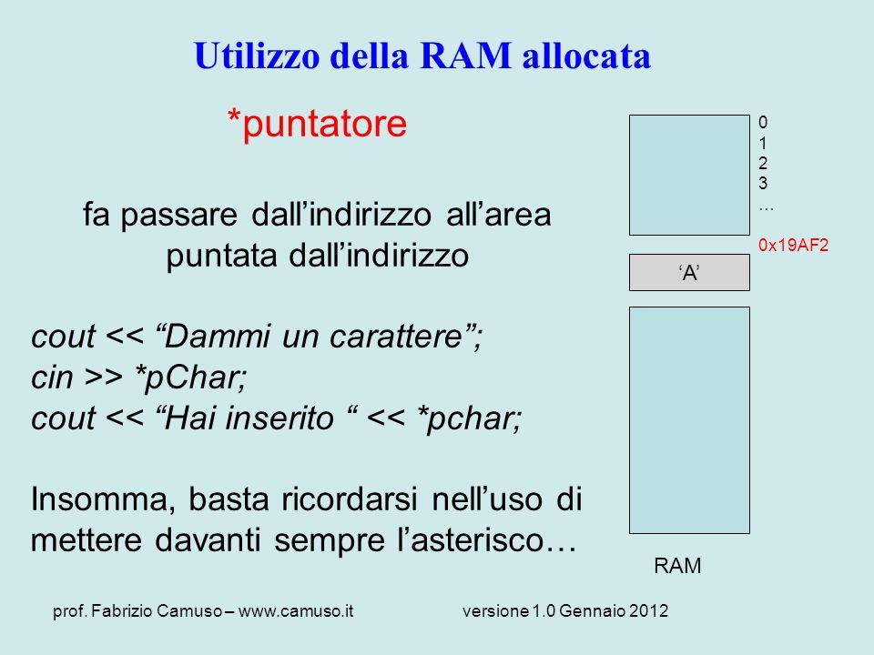 prof. Fabrizio Camuso – www.camuso.itversione 1.0 Gennaio 2012 A RAM 0 1 2 3 … 0x19AF2 Utilizzo della RAM allocata *puntatore fa passare dallindirizzo