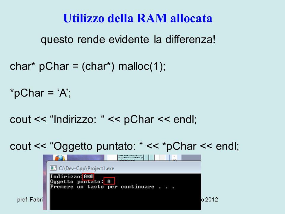 prof. Fabrizio Camuso – www.camuso.itversione 1.0 Gennaio 2012 Utilizzo della RAM allocata questo rende evidente la differenza! char* pChar = (char*)