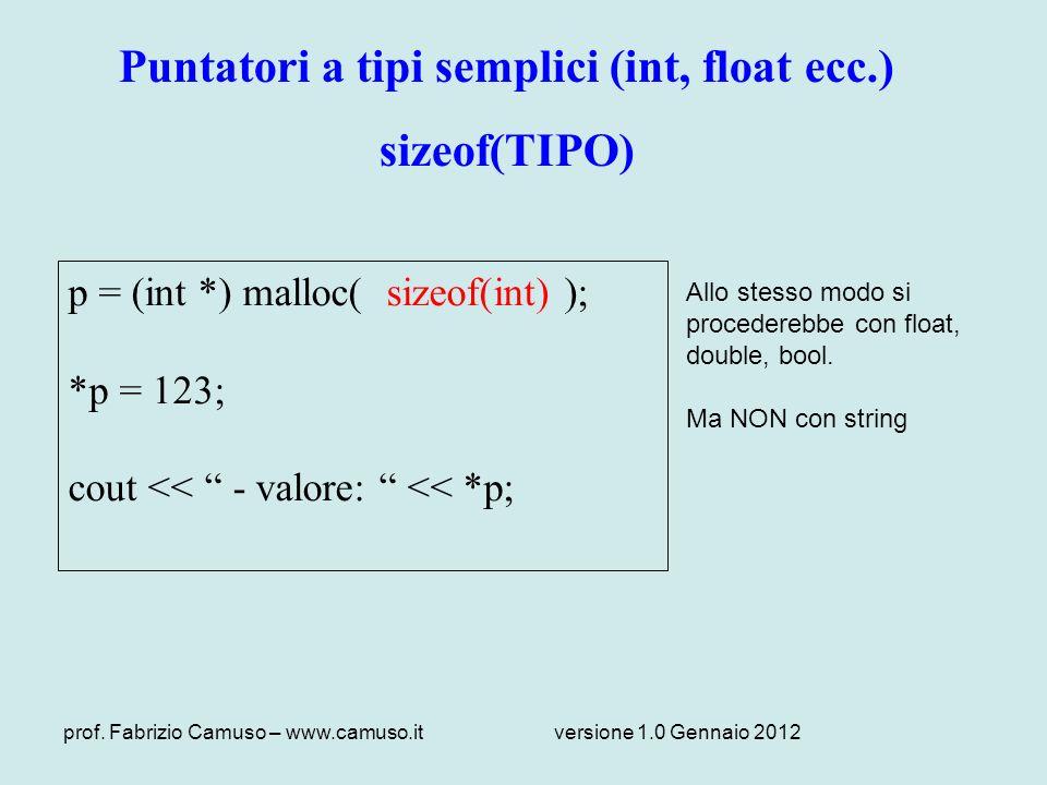 prof. Fabrizio Camuso – www.camuso.itversione 1.0 Gennaio 2012 Puntatori a tipi semplici (int, float ecc.) sizeof(TIPO) p = (int *) malloc( sizeof(int
