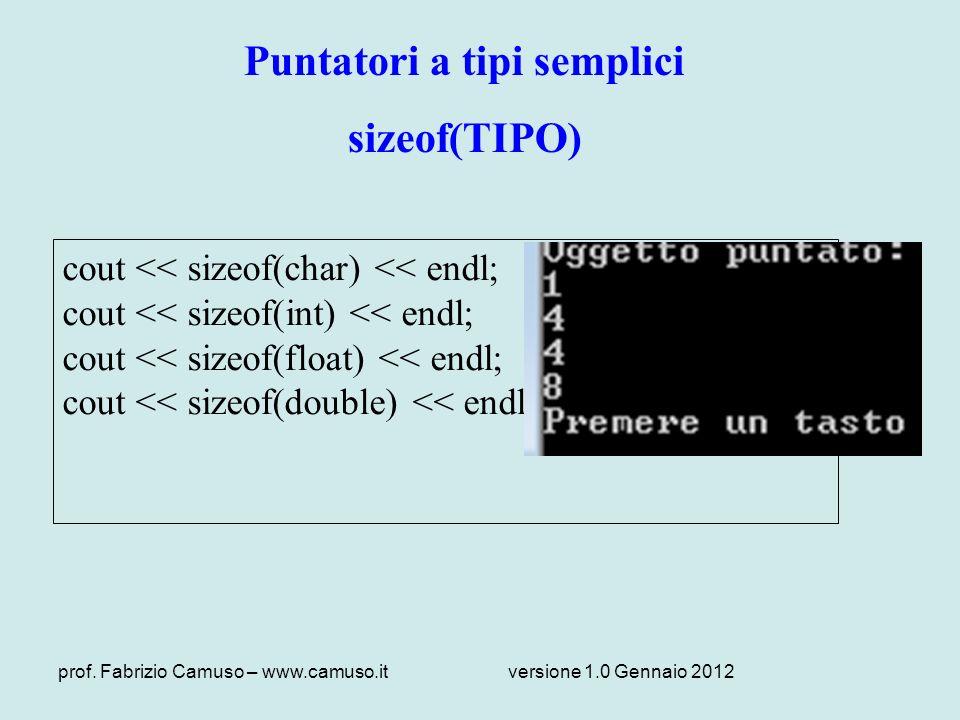 prof. Fabrizio Camuso – www.camuso.itversione 1.0 Gennaio 2012 Puntatori a tipi semplici sizeof(TIPO) cout << sizeof(char) << endl; cout << sizeof(int