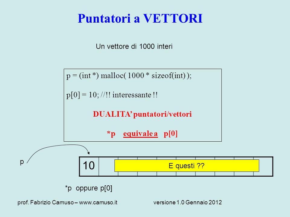 prof. Fabrizio Camuso – www.camuso.itversione 1.0 Gennaio 2012 Puntatori a VETTORI Un vettore di 1000 interi p = (int *) malloc( 1000 * sizeof(int) );