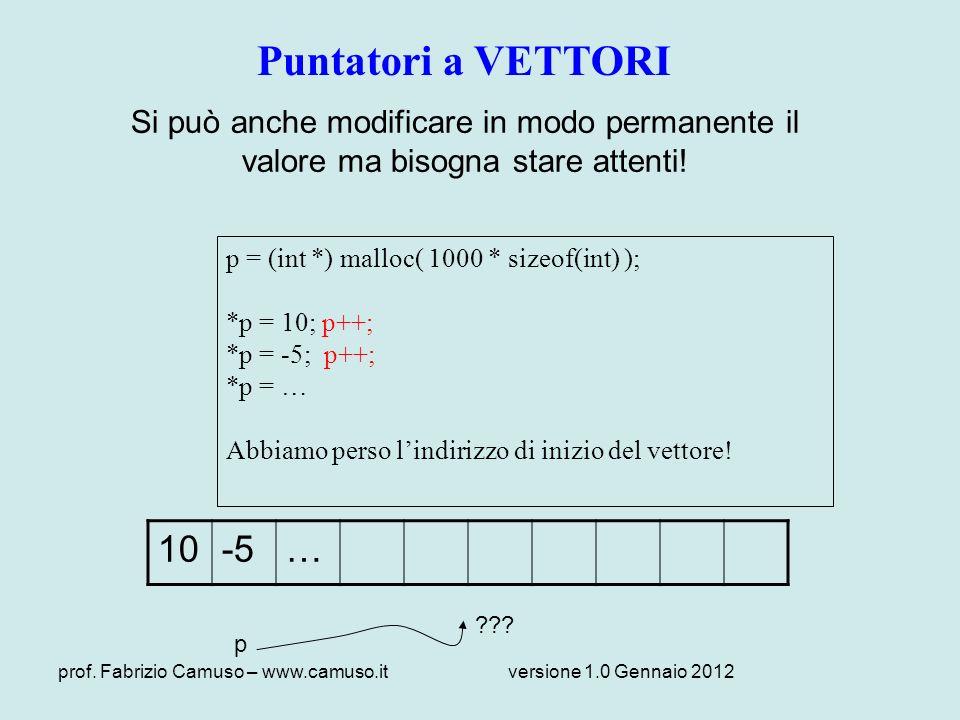 prof. Fabrizio Camuso – www.camuso.itversione 1.0 Gennaio 2012 Puntatori a VETTORI Si può anche modificare in modo permanente il valore ma bisogna sta