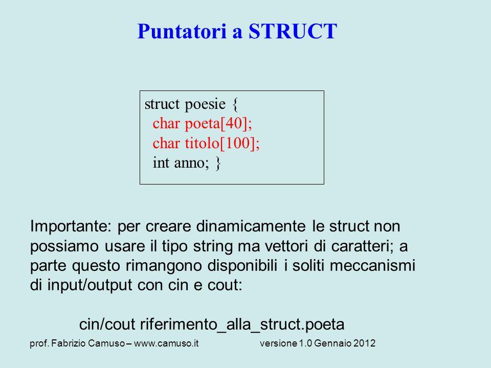 prof. Fabrizio Camuso – www.camuso.itversione 1.0 Gennaio 2012 Puntatori a STRUCT struct poesie { char poeta[40]; char titolo[100]; int anno; } Import