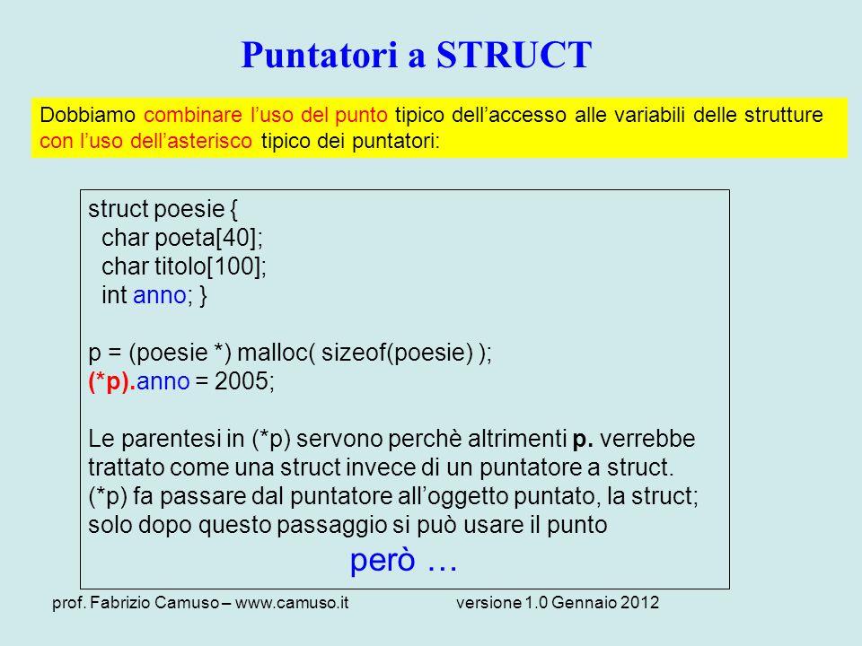 prof. Fabrizio Camuso – www.camuso.itversione 1.0 Gennaio 2012 Puntatori a STRUCT struct poesie { char poeta[40]; char titolo[100]; int anno; } p = (p