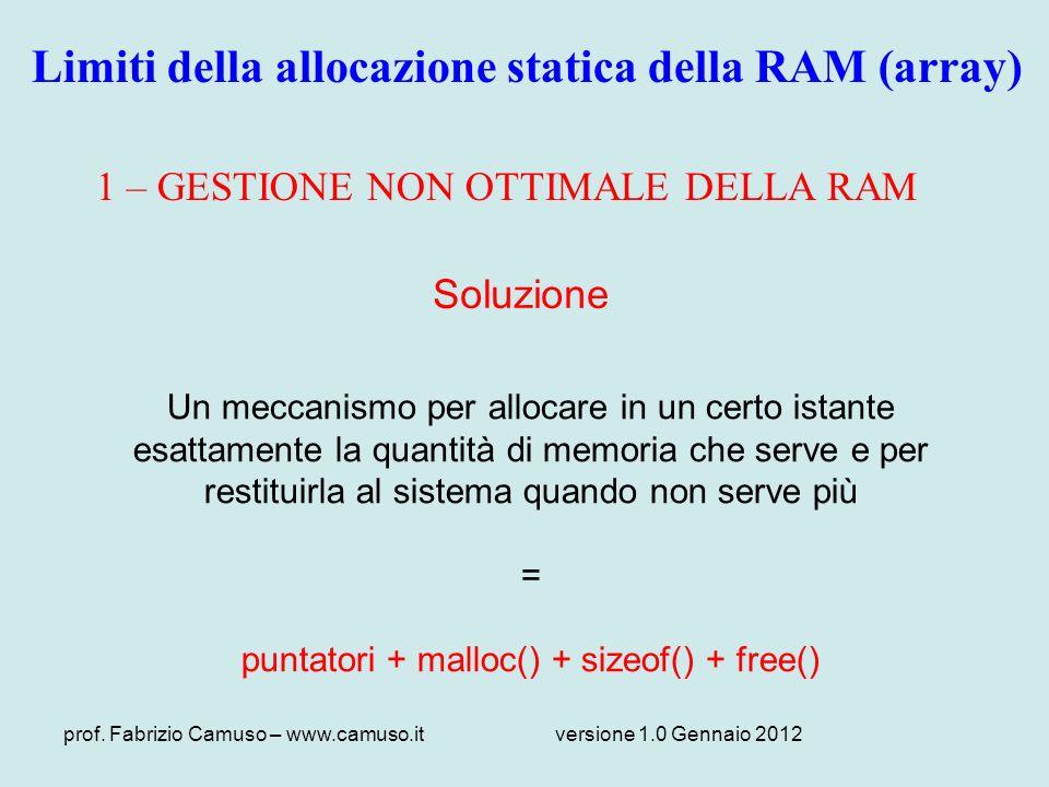 prof. Fabrizio Camuso – www.camuso.itversione 1.0 Gennaio 2012 1 – GESTIONE NON OTTIMALE DELLA RAM Soluzione Un meccanismo per allocare in un certo is