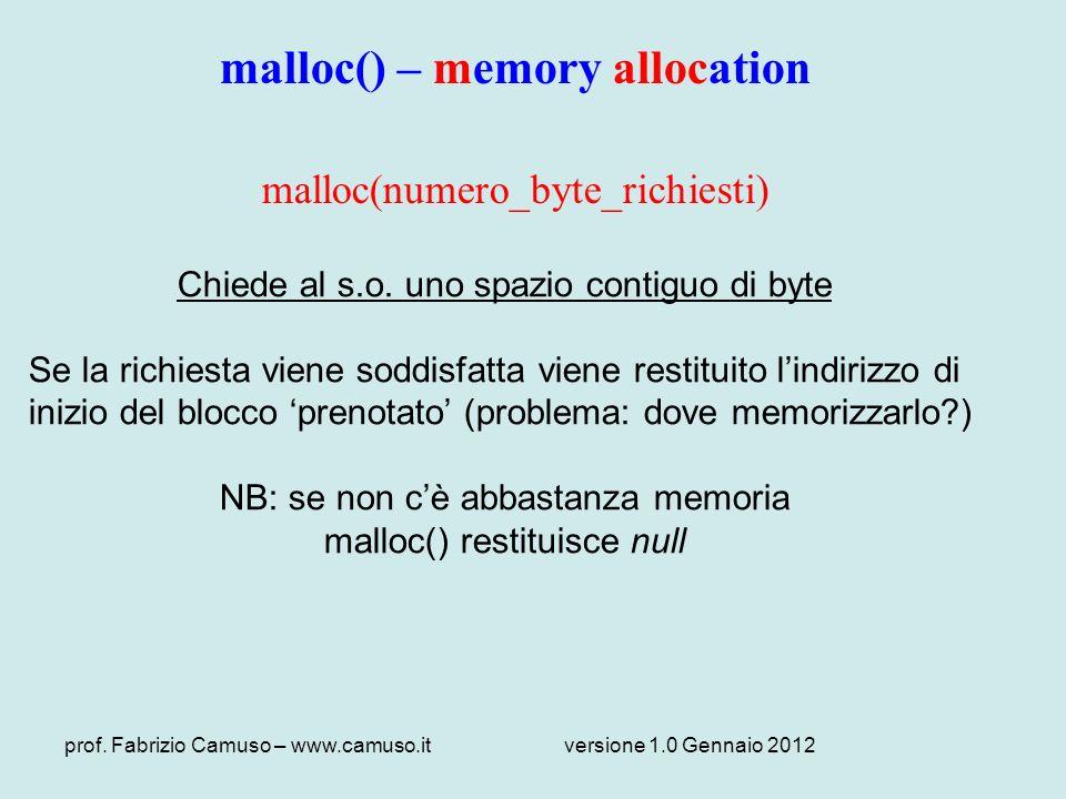 prof. Fabrizio Camuso – www.camuso.itversione 1.0 Gennaio 2012 malloc() – memory allocation malloc(numero_byte_richiesti) Chiede al s.o. uno spazio co