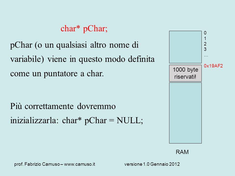 prof. Fabrizio Camuso – www.camuso.itversione 1.0 Gennaio 2012 char* pChar; pChar (o un qualsiasi altro nome di variabile) viene in questo modo defini
