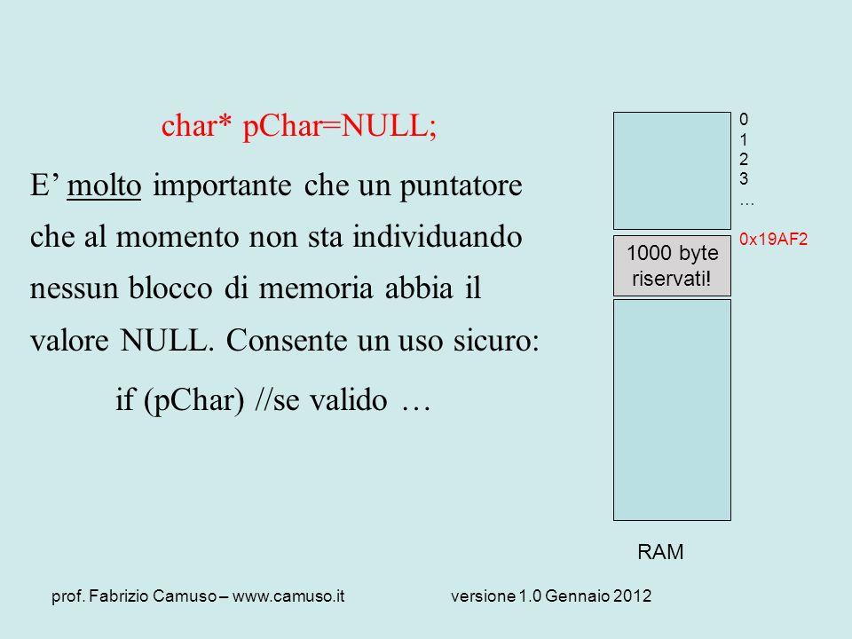 prof. Fabrizio Camuso – www.camuso.itversione 1.0 Gennaio 2012 char* pChar=NULL; E molto importante che un puntatore che al momento non sta individuan