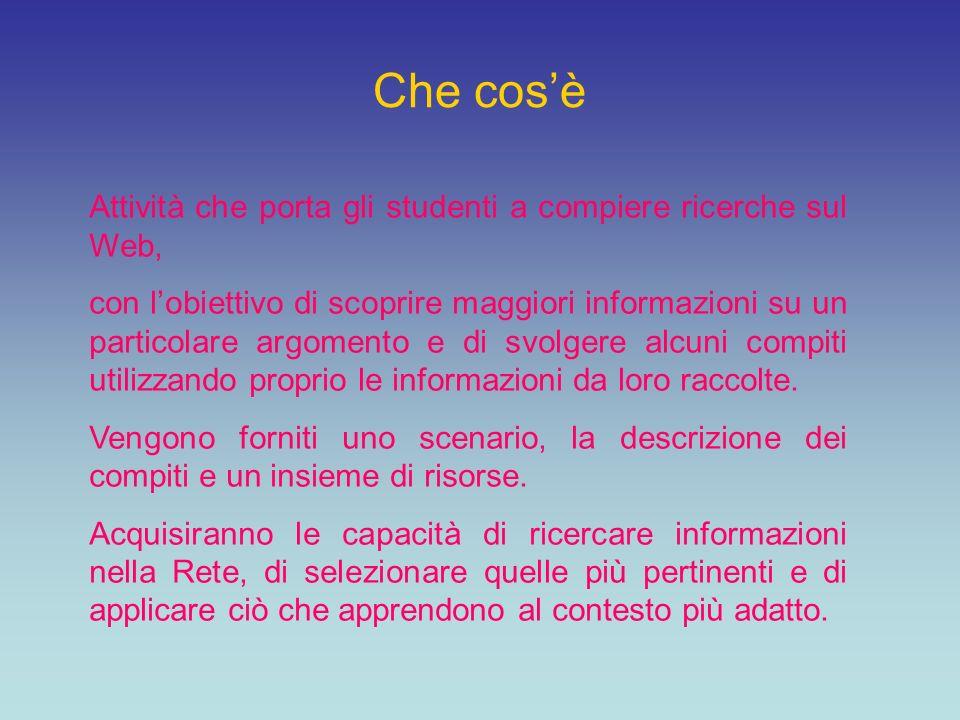 Sitografia webquest.sdsu.edu ozline.com www.webquest.it www.apprendereonline.it www.bibliolab.it/webquest.htm www.indire.it/studidicaso/html/index.php?id_cs=380 www.aula21.net www.indire.it/studidicaso/html/index.php?id_cs=380