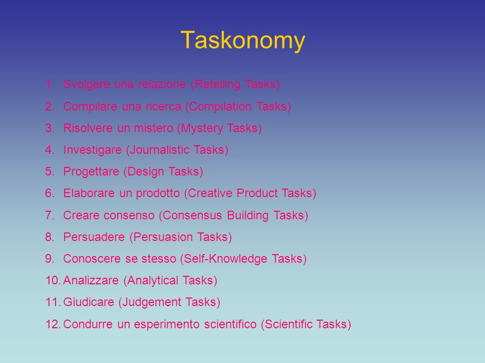 Taskonomy 1.Svolgere una relazione (Retelling Tasks) 2.Compilare una ricerca (Compilation Tasks) 3.Risolvere un mistero (Mystery Tasks) 4.Investigare