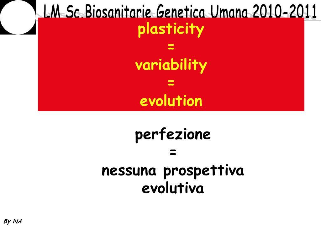 By NA plasticity = variability = evolution perfezione = nessuna prospettiva evolutiva