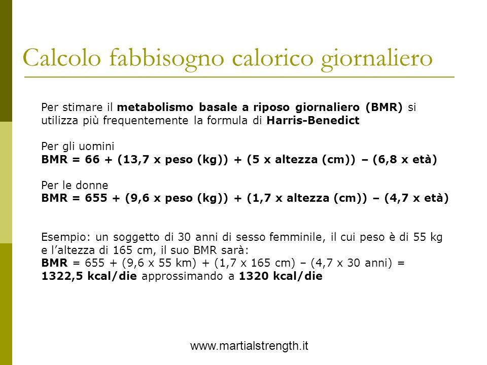 Calcolo fabbisogno calorico giornaliero www.martialstrength.it Per stimare il metabolismo basale a riposo giornaliero (BMR) si utilizza più frequentem