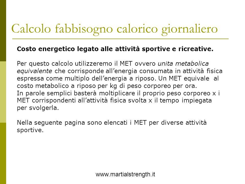 Calcolo fabbisogno calorico giornaliero www.martialstrength.it Costo energetico legato alle attività sportive e ricreative. Per questo calcolo utilizz