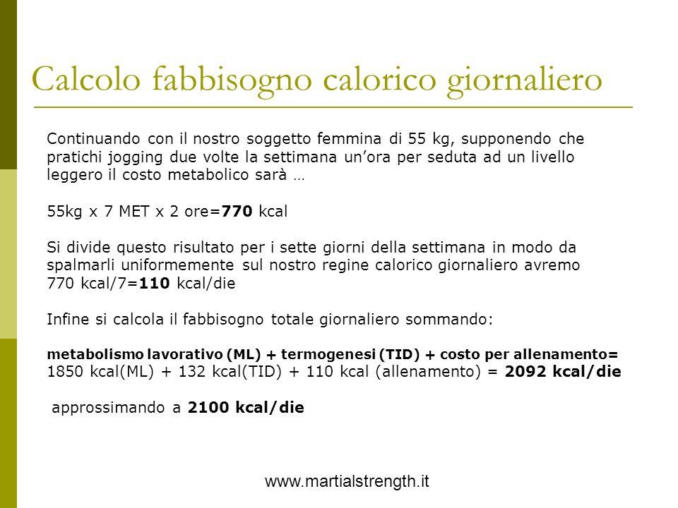 Calcolo fabbisogno calorico giornaliero www.martialstrength.it Continuando con il nostro soggetto femmina di 55 kg, supponendo che pratichi jogging du