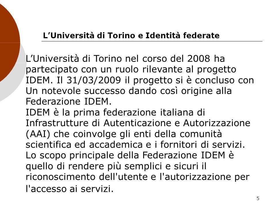 5 LUniversità di Torino e Identità federate LUniversità di Torino nel corso del 2008 ha partecipato con un ruolo rilevante al progetto IDEM. Il 31/03/