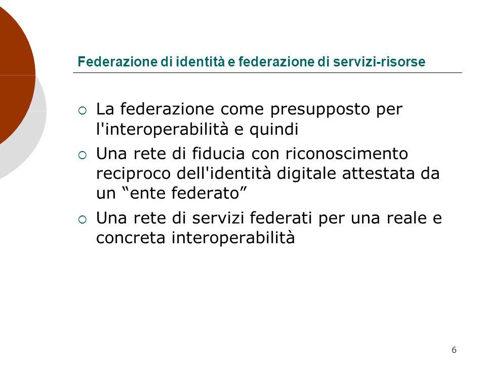 6 Federazione di identità e federazione di servizi-risorse La federazione come presupposto per l'interoperabilità e quindi Una rete di fiducia con ric