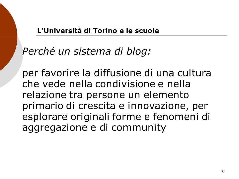 9 LUniversità di Torino e le scuole Perché un sistema di blog: per favorire la diffusione di una cultura che vede nella condivisione e nella relazione