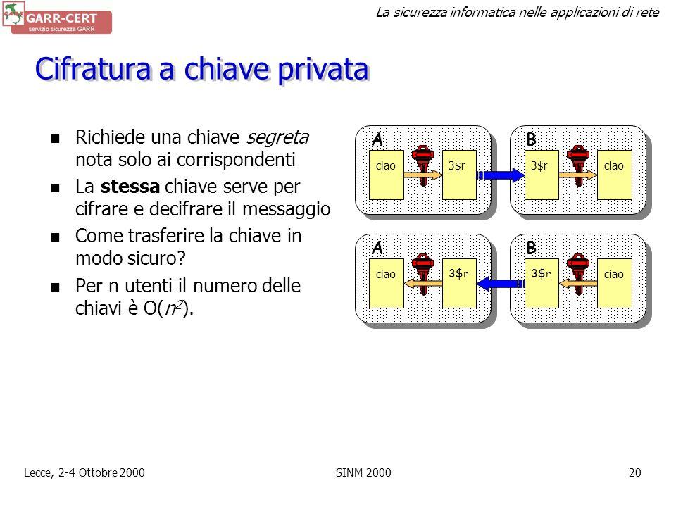 La sicurezza informatica nelle applicazioni di rete Lecce, 2-4 Ottobre 2000SINM 200019 Riservatezza: cifratura Converte un testo in chiaro in uno inin