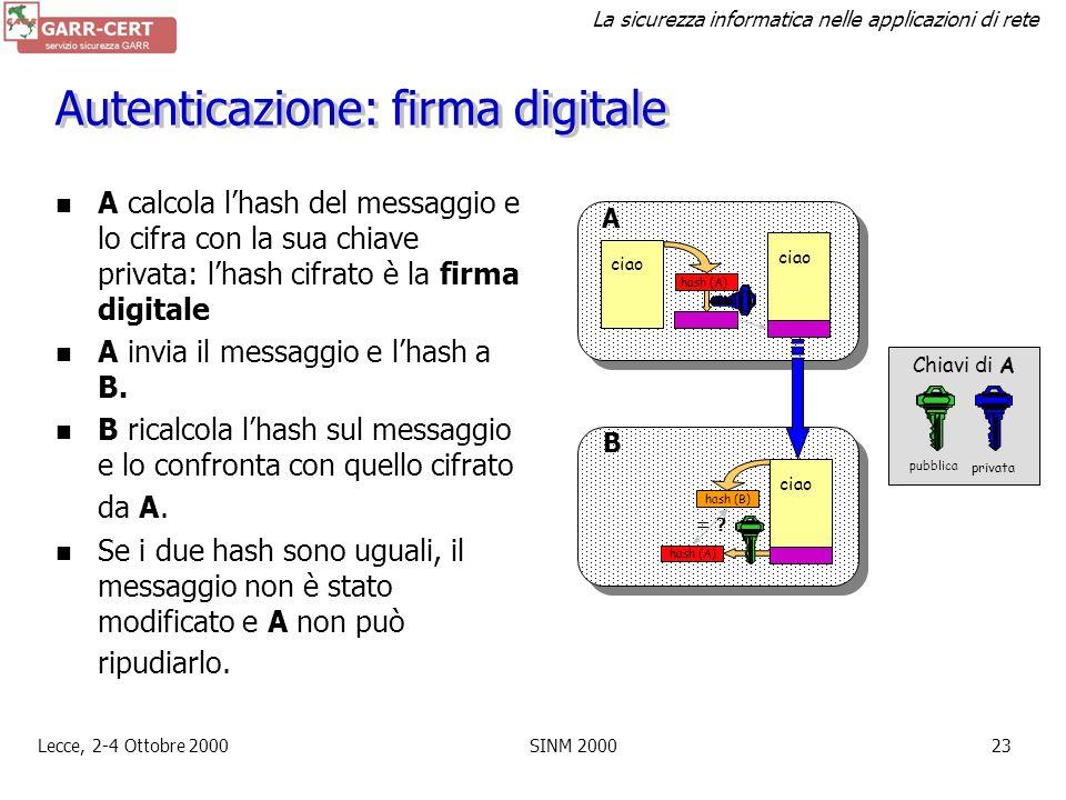 La sicurezza informatica nelle applicazioni di rete Lecce, 2-4 Ottobre 2000SINM 200022 Integrità: one-way hash Funzioni che hanno in ingresso un messa