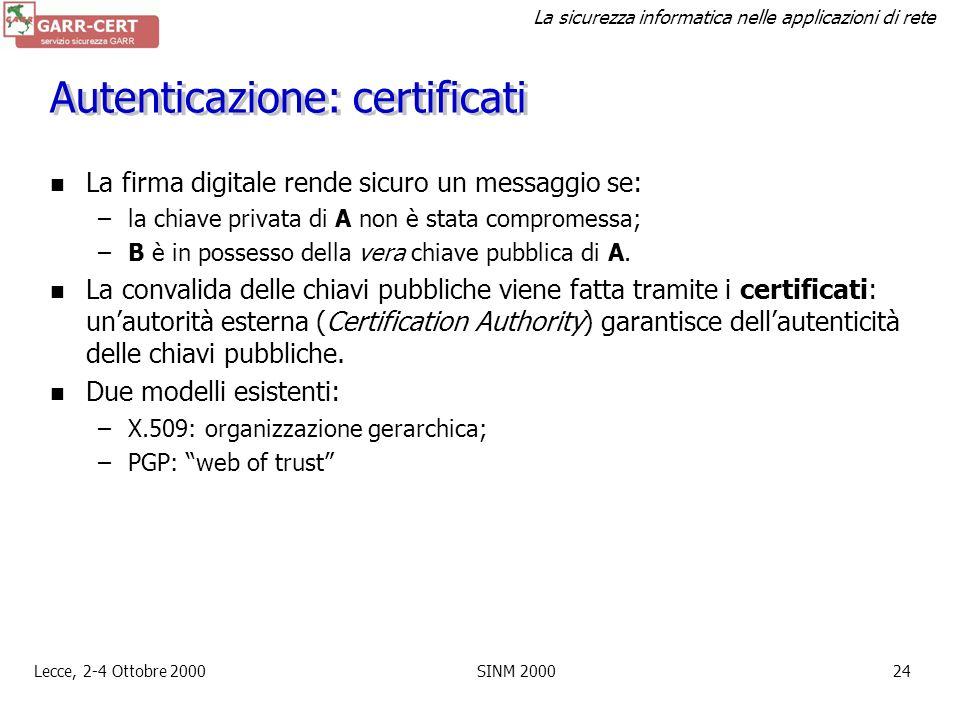 La sicurezza informatica nelle applicazioni di rete Lecce, 2-4 Ottobre 2000SINM 200023 Autenticazione: firma digitale A calcola lhash del messaggio e