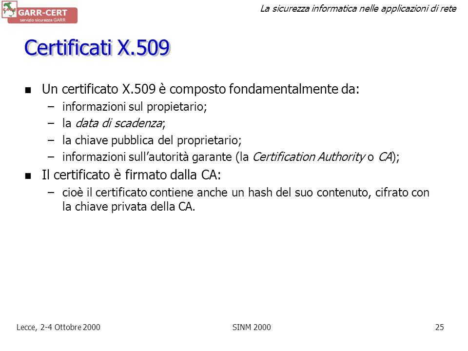 La sicurezza informatica nelle applicazioni di rete Lecce, 2-4 Ottobre 2000SINM 200024 Autenticazione: certificati La firma digitale rende sicuro un m