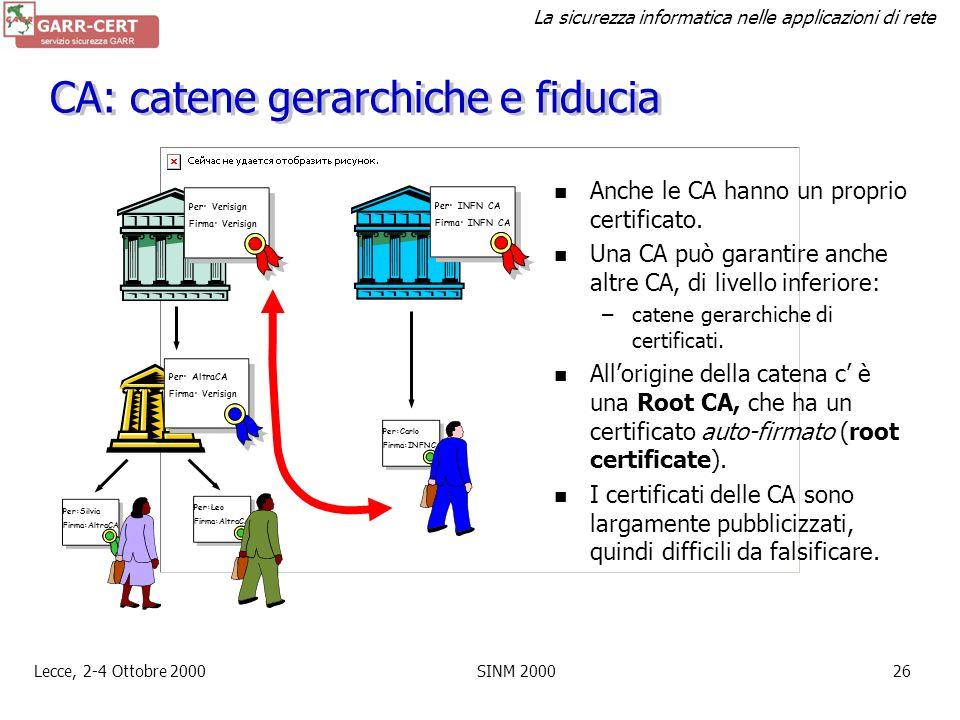 La sicurezza informatica nelle applicazioni di rete Lecce, 2-4 Ottobre 2000SINM 200025 Certificati X.509 Un certificato X.509 è composto fondamentalme