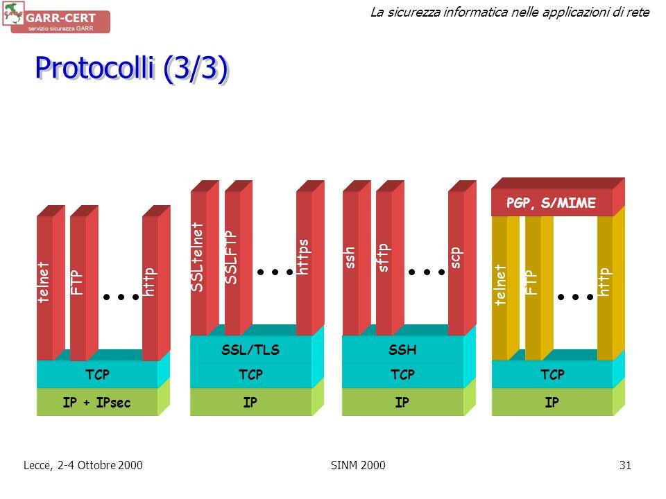 La sicurezza informatica nelle applicazioni di rete Lecce, 2-4 Ottobre 2000SINM 200030 Protocolli (2/3) La lista non è esaustiva. network level –PPTP